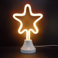 luz da noite da estrela amarela venda por atacado-A estrela cinco-aguçado amarela conduziu as lâmpadas pessoais de néon da luz da noite do flex operou o candeeiro de mesa conduzido para a decoração do quarto