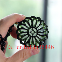 Wholesale black jade amulet for sale - Group buy Hollow Out Double sided Carved Geometric Jade Pendant Natural Chinese Black Green Necklace Charm Jewellery Fashion Amulet Gifts