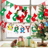 drapeaux colorés achat en gros de-Drapeaux de noël Party Supplies coloré bannière 8 styles décorations de noël décor à la maison drapeaux Père Noël bonhomme de neige drapeau de Noël Noël EJY427