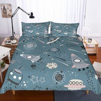 Wholesale boys twin size bedding sets resale online - Yi Chu Xin Cartoon D spacecraft duvet Cover and Pillowcase kids Bedding Set twin size boy Bedclothes twin bed linen best gift