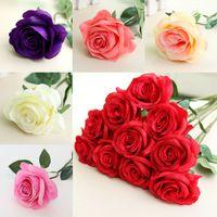 seide künstliche weihnachtsblumen großhandel-Künstliche Blumen Rose Silk Blumen Real Touch Pfingstrosen Dekorative Partei-Blumen-Hochzeit Dekorationen Blumen Weihnachtsdekor WX9-1634