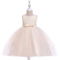 ingrosso abiti da sposa in garza-abito da bambina per bambini top tubino in pizzo abiti da principessa abito da sposa per bambini garza dorata abito da principessa abito con perline fiocco bambina sbuffo abiti