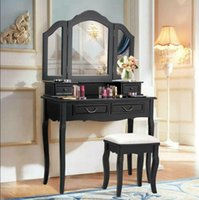 Wholesale Black Tri Folding Mirror Vanity Set Drawers Dressing Table Makeup Desk Stool