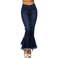 glocke bodendehnung großhandel-Hohe Taille Skinny Denim Frauen Jeans Stretch dünne Hosen Bell-Bottoms Jean weibliche gewaschene Baumwolle Denim Frauen Jeans Hosen 2019