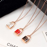 Wholesale date necklace resale online - Personality Lock Pendant with Printed Logo Retro Style necklace for Women Couple Hip Hop Pendant for Dating or Present