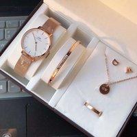 conjunto de pulseira de quartzo venda por atacado-Designer de presente Relógios Mens Daniel Wellington Dw Relógios Homens Esportes Lazer Assista Mulheres 36mm Moda Relógio De Quartzo 5 pçs / set Relógio Pulseira