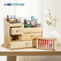 Wholesale wood storage boxes drawers resale online - 8 Styles Available Wooden Makeup Storage for Cosmetics Home Desk Make up Drawer Organizer Eco friendly Storage Box for