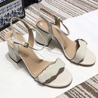 seksi yüksek topuklu tıknaz toptan satış-Lüks tıknaz topuk sandalet kadınlar Tasarımcı Deri Sandal Yüksek Topuk orta topuk 7-11 cm Seksi ayakkabı ile Çift altın tonlu 10 renkler