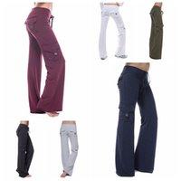 ingrosso pantaloni yoga sparato-pantaloni Le donne di yoga con bottoni tasca calzamaglia dell'anca sport fitness Streetwear Pantaloni Flare Pant battuta LJJA3301