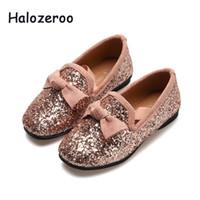 zapatos de lazo rosa para niños al por mayor-2019 otoño nuevo bebé niñas arco princesa zapatos niños brillo pisos niños rosa marca mocasín zapatos de fiesta escuela moda mocasín