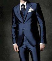 damadın sabah smokin toptan satış-Özel Made Yeni Sabah Damat Donanma bule Smokin Sağdıç Düğün Sağdıç / Erkekler Düğün Damat (ceket + pantolon + yelek + Tie) Suits