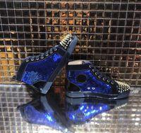 marca sapatos de festa homens venda por atacado-[Com Caixa] New Black Designer de Moda Marca Spikes Flats Sapatos Sapatos de Fundo Vermelho, para Homens E Mulheres Amantes Do Partido Tênis De Couro Genuíno
