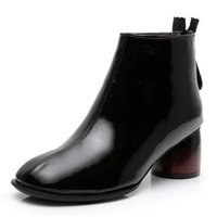 Wholesale bright boots for sale - Group buy 2020 Top Cowhide Bright Patent Leather Boot Spring Boots Women Fashion Shoes Winter Snow Shoes Warm Boots Women Boots