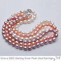 ingrosso 14k catene d'oro turco-Collana di perle naturali al 100% Collana di perle 45cm per le donne Handmade 3 colori 7-8mm Gioielli di perle ovali Regalo di San Valentino