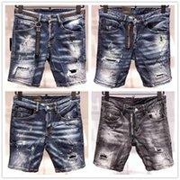 imagens de jeans buracos venda por atacado-Imagem Real Itália ICON Homens D2 Jeans Rasgado Moda Motociclista Curto Jean Calças Jeans Casual Streetwear Buraco Estilo Shorts Jeans