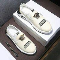 мужские белые мокасины оптовых-Бренд Medusa Мужская Обувь Роскошные Натуральная Кожа Повседневная Обувь Для Вождения Плоские Туфли Мужские Мокасины Мокасины Итальянские для Мужчин Белые Туфли 72312