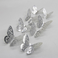 Wholesale silver butterfly favors for sale - Group buy 12pcs Gold Silver Butterflies Hollow Mirror D Wall Stickers Wedding DIY Birthday Home Decor Decoration Party Favors