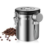 Wholesale tea storage canisters for sale - Group buy Urijk L Coffee Canister With Scoop Airtight Coffee Container Stainless Steel Storage Canister Set For Coffee Beans Tea SH190925