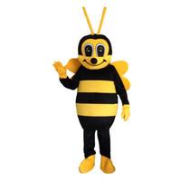sarı elbise karikatür toptan satış-Yüksek kalite Büyük sarı Arı Maskot Kostümleri Karikatür Karakter Kostüm Yetişkin Fantezi Elbise Cadılar Bayramı karnaval kostümleri Ücretsiz Kargo