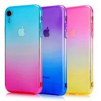 teléfonos celulares transparentes al por mayor-Nuevo para Iphone XS max XR X 6S 7 8 PLUS Color de degradado TPU Gel Funda con forma de teléfono Funda con tapa para teléfono Accesorios de celular cubierta transparente delgada