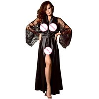670b24e58a5 2019 Baoaili Women Satin Long Nightdress Silk Lace Lingerie Nightgown  clubwear Sexy Robe Lace Bathrobe Intimate Ladies C4