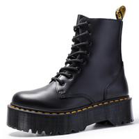 moda bayan dantel toptan satış-Size34-41 Chunky Motosiklet Boots Kadınlar Sonbahar 2019 Moda Yuvarlak Burun Dantel-up Combat Boots Bayan Ayakkabı için