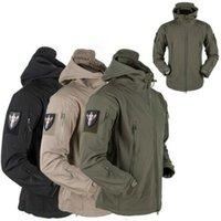 ingrosso vestito antivento dell'esercito-traspirante 2019 nuovo Army Men Hoody Waterproof Jacket Softshell giacche morbide guscio giacca in pile mimetico vestito su antivento