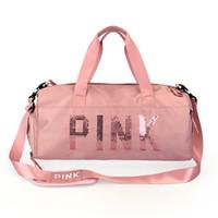 подростковые сумочки оптовых-Блестки розовый письмо сумки на ремне ткань Оксфорд многофункциональный обувь положение девочек-подростков сумка путешествия водонепроницаемый мешок 2Colors