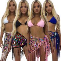 renkli örtbas toptan satış-Renkli sequins tığ mini etek plaj cover up sequins etek örgü desen dantel genç kız kadınlar etek sarın