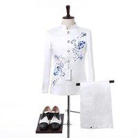 damat takım elbise tasarımları toptan satış-Crazy2019 Erkekler Düğün Takım Elbise Alien Porselen Işlemeli Tasarım Groomsmen Beyaz Şal Yaka Damat Smokin Smokin Düğün / Balo Suits