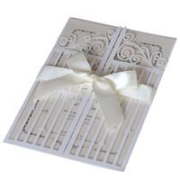 sobres de boda para imprimir gratis al por mayor-Nuevas tarjetas de invitaciones de boda Puertas de felicidad Favores de boda huecos únicos Invita a tarjetas de DHL Entrega rápida Venta caliente
