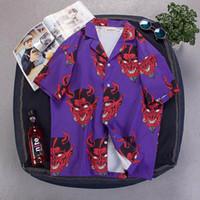 partiler erkekler için başında toptan satış-Harajuku Şeytan Hayalet Canavar Baskı Mens Gevşek Kısa Kollu Gömlek Kadın INS Mor Pembe Hip Hop Gömlek Unisex Tops Parti Giyim