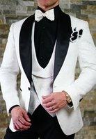 vestido de novia pieza blanca negra al por mayor-Vestido de novia de Paisley para el novio, esmoquin blanco, para hombre de boda, para hombre, chaqueta de noche, hombre de solapa, chaqueta de fiesta, traje de 3 piezas (chaqueta + pantalón, chaleco y corbata) 1480