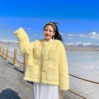 beyaz ceket kadınlar düşmek toptan satış-Kadınların sarı haki beyaz yapay sahte sahte kürk ceket palto DT191029 için kış uzun kollu Lambswool kürklü sıcak termal dış giyim Fall