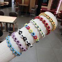 акриловый браслет оптовых-HZ 2019 Handmade Sweet Flower Colorful Chain Tassel Bracelet Acrylic Hand Jewelry Irregular  Bangle for Women Holiday