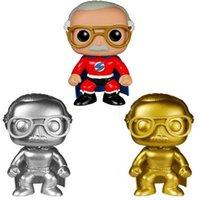 Wholesale bronze toys resale online - Funko POP Stan Lee Silver gold red bronze statue bronze statue Hand decoration model Q version doll Toy Good Quality