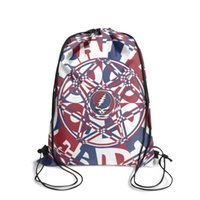 Wholesale knit fabric flowers resale online - Drawstring Sports Backpack Grateful Dead History cool adjustable limited edition Travel Fabric Backpack