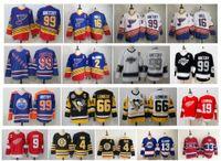 ccm vintage jerseys venda por atacado-Vintage St Louis Blues Jersey Wayne Gretzky Brett Hull Mario Lemieux Pittsburgh Penguins Teemu Selanne Howe Bobby Orr Patrick Roy Hóquei no CCM