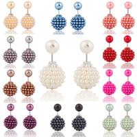 neue lehm ohrringe großhandel-Ohrringe für Frau Mädchen Brand New Korean Doppel Perle Perlen Ton Kristallkugel Brand New Fashion Zwei Enden Perle Ohrstecker
