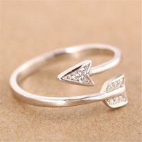 Wholesale adjustable arrow ring resale online - Arrow Open Rings Silver Color Crystal Rhinestone Rings for Women Adjustable Engagement Female Finger Ring Jewelry Valentine s Day Gift