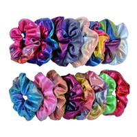 mehrfarbiges pferdeschwanz großhandel-Frauen Laser Haarbänder Dot Glänzend Steigung-Farben-elastische Haar-Bänder Stirnband Pferdeschwanz-Halter-Seil Krawatte Haar Scrunchies Mädchen Kopfbedeckung A101501