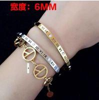 Wholesale gold roman numeral bangle for sale - Group buy Roman numerals bracelet Titanium steel plated rose gold Simple set of six diamond OL bracelet bracelet