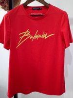 camisas de nylon dos homens t venda por atacado-WW-Balmain Luxo Europa Paris imprimir Contraste retalhos camisetas Mens Fashion Designer T Shirt Casual Vestuário Cotton T-shirt