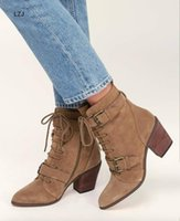 Wholesale brown pumps for women for sale - Group buy LZJ New Ankle Boot for Women Peep Toe Lace Up Cross tied Heel Pumps Roman Women Boota Sandals Brown Black Zapatos De Mujer