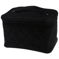 Wholesale train case cosmetic bags resale online - New Zipper Cosmetic Storage Make up Bag Handle Train Case Purse L black