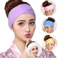 elastik havlu toptan satış-Elastik Güzellik Havlu Kafa Bayanlar Makyaj Maske Saç Bandı Spor Emici Hood Hairband Saç Aracı TTA1766 Face