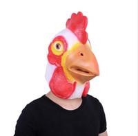 ingrosso accessori per gallo-Maschera di Halloween Maschera di testa di cazzo Maschera di piume di pollo Maschera Festa Festa Cosplay Accessorio Faccia piena di alta qualità