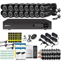 ingrosso cctv 16 sistemi di telecamere-KKmoon 16CH 1080P Hybrid Digital Video Recorder + 16 * 720P impermeabile di IR macchina fotografica del CCTV + 16 * 60ft sistema di sorveglianza a circuito chiuso cavo