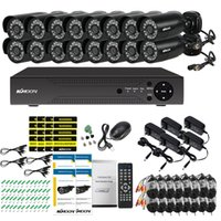 ingrosso sistemi di sorveglianza 16-KKmoon 16CH 1080P Hybrid Videoregistratore digitale + 16 * 720P Telecamera IR CCTV impermeabile + 16 * 60ft Sistema di videosorveglianza via cavo CCTV