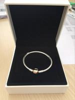 ingrosso braccialetti d'argento sterlina per fascini clip-18K oro rosa clip catena mano BRACCIALE scatola originale per Pandora 925 Sterling Silver Charms bracciali per le donne Mens